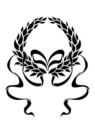 Ilustración de Foliate laurel wreath with long trailing ribbons in a symmetrical pattern enclosing blank white copyspace, black and white silhouette - Imagen libre de derechos