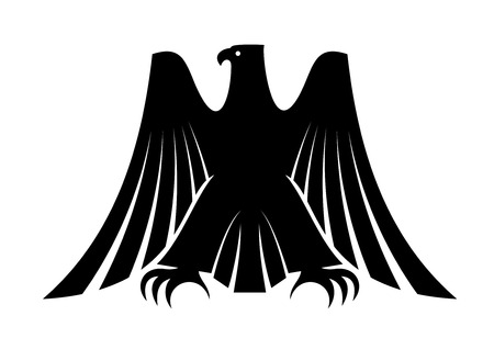 Ilustración de Black silhouette of an imperial eagle with long trailing wing feathers and his wings raised isolated on white for heraldic design - Imagen libre de derechos