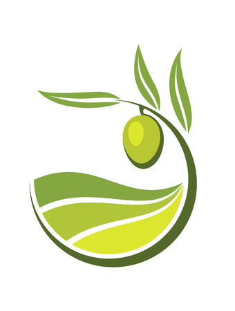 Illustration pour Fresh curling green cartoon olive with grades and quality of olive oil depicted by levels in shades of green in an organic bio concept - image libre de droit