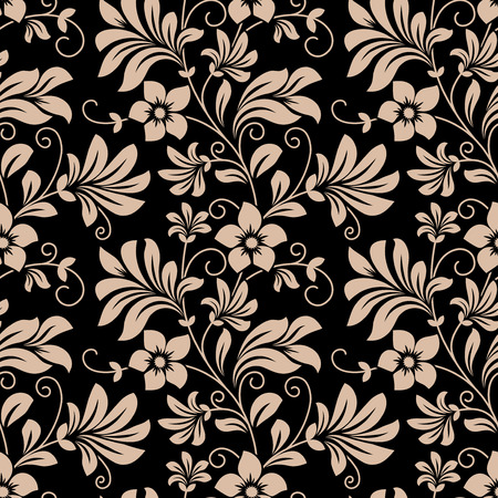 Ilustración de Vintage floral wallpaper seamless pattern with trailing tendrils of little flowers on vertical vines with leaves in beige on black in square format - Imagen libre de derechos
