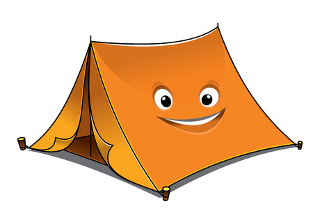 Ilustración de Cheerful cartoon orange tent with open front flaps and a smiling face on the side, vector illustration isolated on white - Imagen libre de derechos