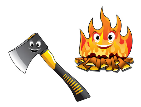 Illustration pour Cartoon axe or chopper for chopping the firewood and a separate burning fire with happy smiling faces for travel and tourism design - image libre de droit