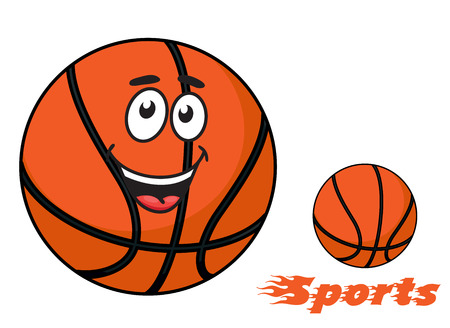 Ilustración de Basketball ball with a happy smiling face and flaming Sports text with trailing flames for sports design - Imagen libre de derechos