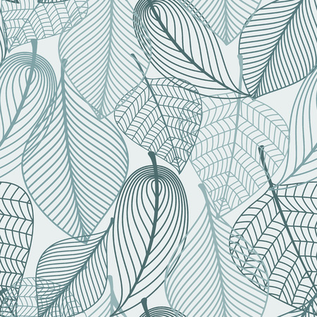 Illustration pour Delicate skeleton leaves background seamless pattern showing the vein detail in outline design in square format suitable for wallpaper, tiles and textile design - image libre de droit