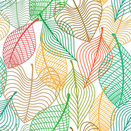 Illustration for Seamless pattern of autumnal colorful leaves overlap on each other for seasonal or background design - Royalty Free Image