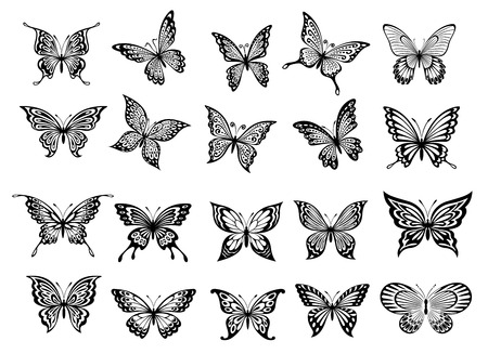 Illustration pour Set of twenty ornate black and white flying butterflies with open wings for use as design elements - image libre de droit