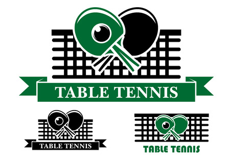 Three Table Tennis emblems and symbols with crossed bats over a net and text below, two in ribbon banners and one plain for sporting design