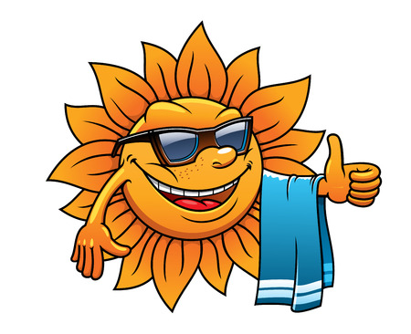 Illustration pour Happy tropical sun on a beach vacation with a towel over its arm, wearing sunglasses and giving a thumbs up of approval, cartoon illustration on white - image libre de droit