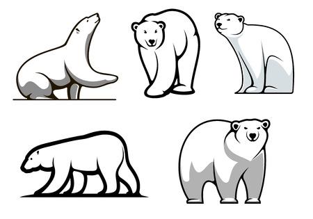 Illustration pour White polar bears set in cartoon style for mascot  - image libre de droit
