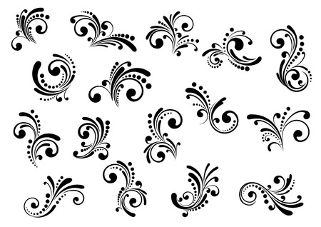 Illustration pour Floral motifs and design elements in swirl damask style isolated on white - image libre de droit