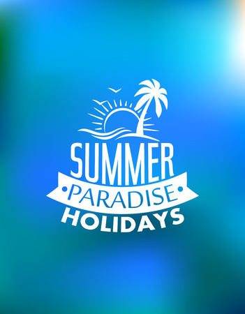 Illustration for Summer paradise poster poster design with a sun, waves, palms, birds and text Summer Paradise Holidays. For journey, travel, adventure or logo design  - Royalty Free Image