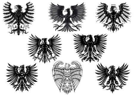 Illustration for Heraldic royal medieval eagles for retro heraldry design isolated on white background - Royalty Free Image