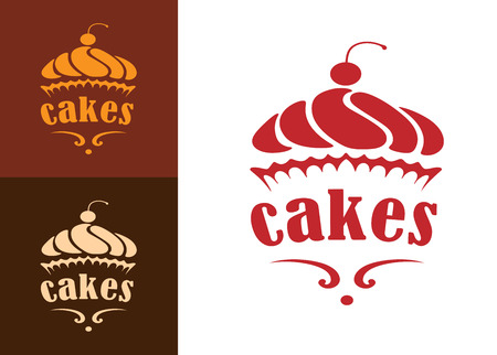 Illustration pour Cream dessert cakes bakery logo or emblem for food, cafe or restaurant menu design - image libre de droit
