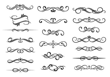 Illustration pour  Border calligraphic vignette elements set, isolated on white. - image libre de droit