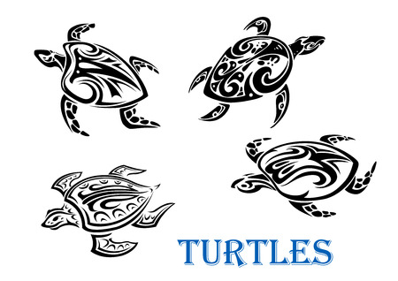 Illustration pour Swimming turtles set in tribal outline style isolated on white background. For tattoo or wildlife design - image libre de droit