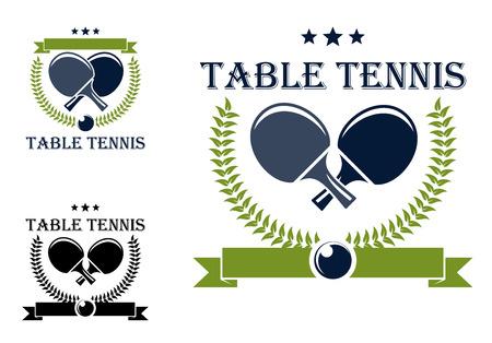Ilustración de Table tennis or table tennis symbols with rackets, stars, laurel wreath and ball isolated on white for sports logo design - Imagen libre de derechos