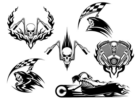 Ilustración de Set of motor racing skulls in black and white designs with a grim reaper holding a checkered flag, racing skull on handlebars and skeleton on a speeding roadster bike trailing flames - Imagen libre de derechos
