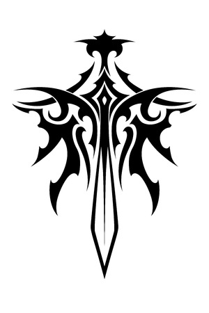 Illustration for Winged sharp sword tribal style for fantasy and tattoo design - Royalty Free Image