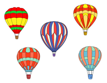 Ilustración de Colorful striped hot air balloons isolated on white background for travel and tourism design - Imagen libre de derechos