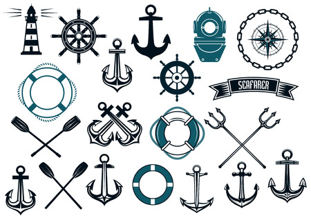 Illustration pour Nautical themed design elements with lighthouse, rope, anchor, paddle, life buoy, trident, steering wheel and diving helmet - image libre de droit