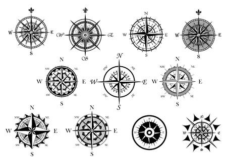 Illustration pour Vintage nautical or marine wind rose and compass icons set, for travel, navigation design  - image libre de droit
