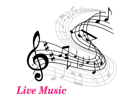 Illustration pour Live Music poster template with a clef, staff and music notes curling into the distance and text Live Music in pink with copyspace - image libre de droit