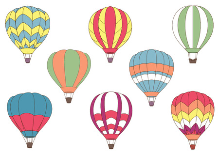Illustration pour Flying cartoon colorful hot air balloons for journey, air adventure and tourism design with different patterns on the envelope - image libre de droit