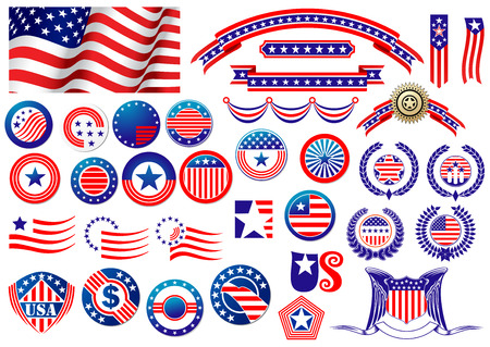 Illustration for Red and blue patriotic American badges and labels with flag, banners, round labels, shields and wreaths in the colour and pattern of the Stars and Stripes - Royalty Free Image