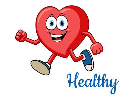 Ilustración de Running healthy red heart character for sporting and active lifestyle concept - Imagen libre de derechos