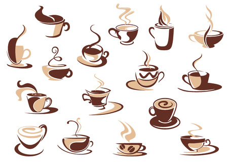 Ilustración de Coffee cup icons in shades of brown with doodle sketches of steaming cups of coffee, cappuccino and espresso - Imagen libre de derechos
