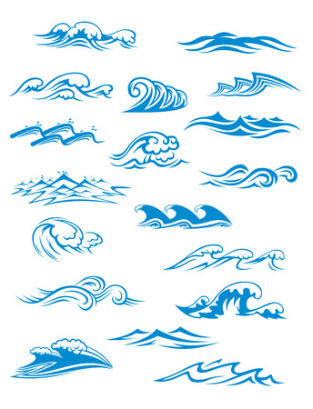 Ilustración de Ocean or sea waves, surf and splashes set curling and breaking in a pretty turquoise blue for marine and nautical themed concepts illustration on white - Imagen libre de derechos