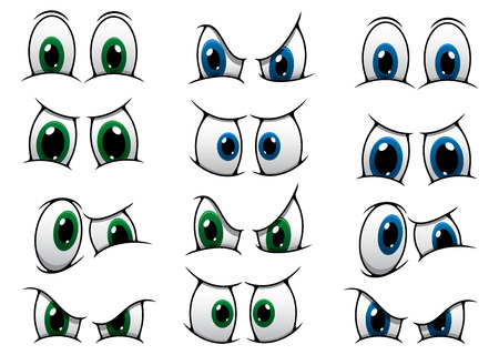 Illustrazione per Set of cartoon eyes with blue and green irises showing various expressions from anger, through surprise to a frown - Immagini Royalty Free