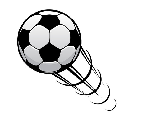 Illustration for Soccer ball or football speeding through the air with motion rings and a speed trail - Royalty Free Image
