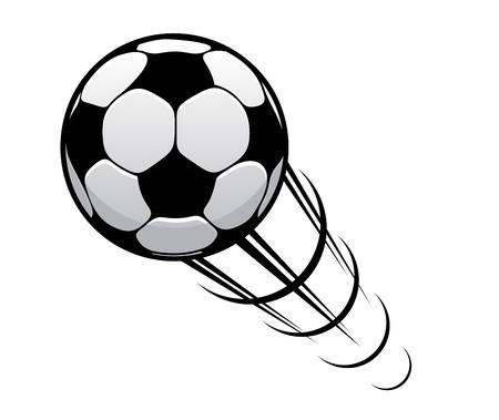 Ilustración de Soccer ball or football speeding through the air with motion rings and a speed trail - Imagen libre de derechos