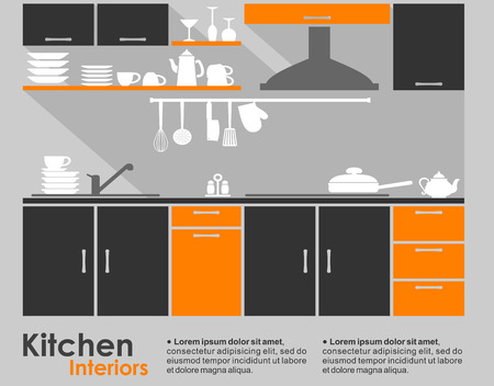 Illustration pour Kitchen interior flat design showing a fitted kitchen with cabinets and a built in hob and extractor with crockery and kitchen utensils on the counter and copyspace for text - image libre de droit