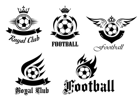 Soccer and football emblems set with crowns, wings and flames for sports design