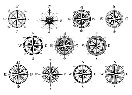 Illustration pour Vector antique compasses with ornate dials for use as design elements in vintage or retro nautical and marine concepts, black and white - image libre de droit
