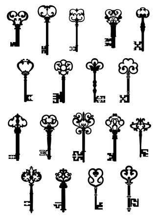 Illustration pour Large set of black and white silhouette vector vintage keys with ornate patterned tops - image libre de droit