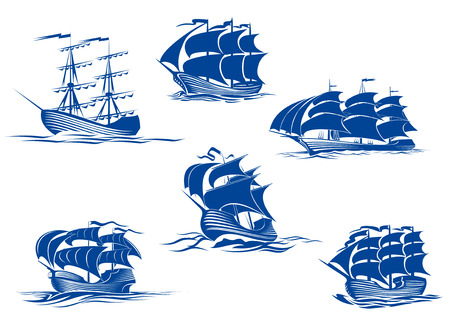 Illustration pour Blue tall ships or sailing ships, one with its sails stowed and the others with their full sails set cruising the ocean, vector illustration isolated on white - image libre de droit