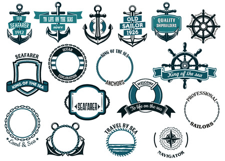 Illustration pour Set of nautical or marine themed icons and frames including ships anchors and wheels and circular rope frames and shields - image libre de droit