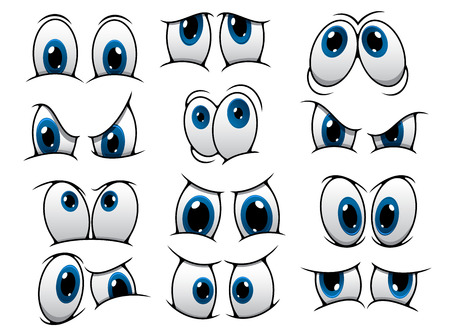 Ilustración de Large set of people cartoon eyes depicting a variety of expressions with anger, sadness, surprise and happiness with blue irises, vector illustration on white - Imagen libre de derechos