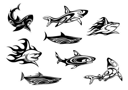 Ilustración de Fierce shark icons swimming underwater, some trailing flames, in black and white vector illustrations for tattoo or mascot design - Imagen libre de derechos