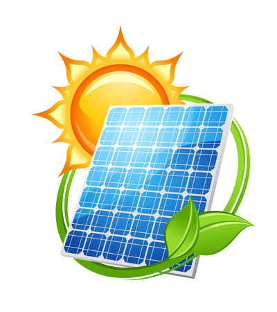 Illustration pour Solar energy and power concept to save the environment with a photovoltaic solar panel under a hot sun encircled with green leaves, vector illustration on white - image libre de droit