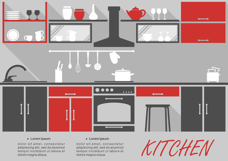 Illustration pour Kitchen interior decor infographic template with space for text showing fitted appliances and cabinets and shelves with kitchenware and crockery in grey and red - image libre de droit
