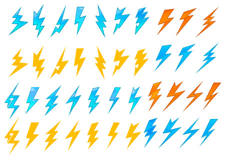 Illustration for Colorful lightning bolts or electrical icons showing various zigzag patterns in red, orange and blue, vector illustration on white - Royalty Free Image