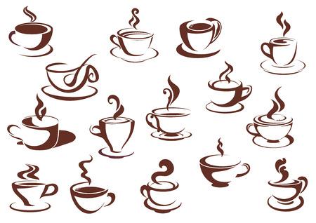 Ilustración de Doodle sketch set in brown and white of steaming hot beverages of coffee and tea in assorted cups - Imagen libre de derechos