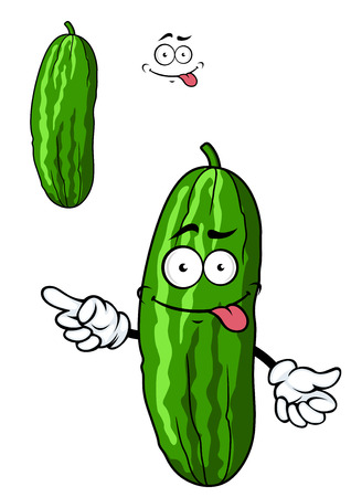 Photo for Green cartoon cucumber vegetable character with a goofy smile, vector illustration isolated on white - Royalty Free Image