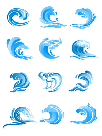 Illustration pour Blue curly sea and ocean surf waves set isolated on white background. For icon, symbol or emblem design - image libre de droit