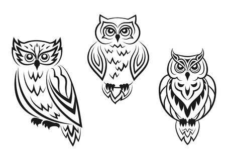 Ilustración de Black and white owl bird tatoos in silhouetted style isolated on white background - Imagen libre de derechos