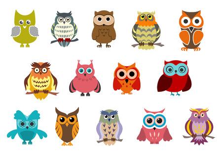 Ilustración de Cartoon cute owl birds characters isolated on white background - Imagen libre de derechos